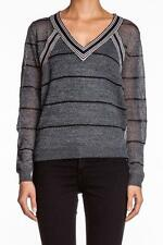 Townsen Clearwater Pullover Sweater BLACK long sleeves V-neck Silver Gray NEW