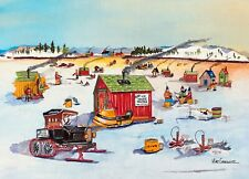 Winter Ice Fishing Derby Art Print Skating Snowmobile Shack Shanty Model T Fish