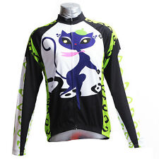 Green Cat Girl Women's Sportswear Long Sleeve Cycling Jerseys Bicycle Bike Shirt