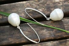 Long Sterling Silver Earrings with Black or White Shell Pearl, Pearl Earrings