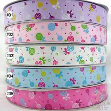 "1""25mm Lollipops Mixed Colors Cartoon Grosgrain RIBBON Craft Sewing Wholesale"
