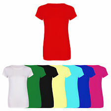 PLUS SIZE LADIES WOMENS BASIC PLAIN CREW NECK STRETCHY FITTED VISCOSE T-SHIRT