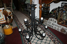 Superb Gothic Medieval 9 Light Chandelier-Black Iron Steel-Large-All Welded-LQQK