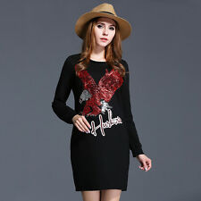 Women Casual Party Club Bodycon Dress Long Sleeve US Size 12 14 16 18 20 22 6528