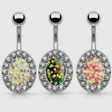 GEM PAVED OVAL FAUX RESIN-OPAL BELLY BUTTON RING NAVEL JEWELRY (3 Colors)