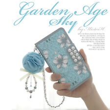 For iPhone & Samsung Blue Bling Pearls Flower PU Leather Flip Wallet Case Cover