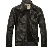 Men's PU Leather Motorcycle Coats Jackets Washed Slim Fit Punk Rock Band Black S