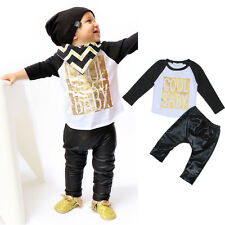 2Pcs Newborn Toddler Baby Boys Girls T-shirt Tops+Long Pants Clothes Outfits Set