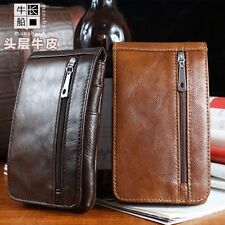 New Men's Genuine Leather Fanny/Waist Pack Pouch Belt Bum Hip Travel Bags Brown