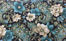 Teal Paisley Floral Fabric Etched Print Flowers on Dark Brown Fabric t1/18