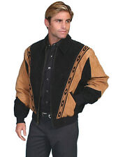 Men's New Two Toned Boar Suede Western Cowboy Rodeo Jacket Cafe Brown Black