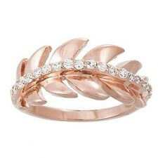 NEW 14K ROSE VERMEIL Eternity Leaf Cubic Zirconia Band Ring-Bridal 925