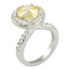 10CTW Light Yellow Canary Solitaire & Clear Pave Rhodium Bridal Ring