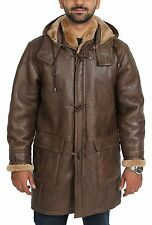 Mens Brown Shearling Warm Real Sheepskin Leather With Fur Duffle Coat BAIN NEW