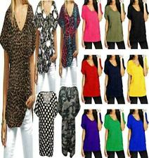 NEW WOMENS LADIES V NECK BAGGY CASUAL TURN UP SLEEVE TOP T SHIRT PLUS SIZE 8-26