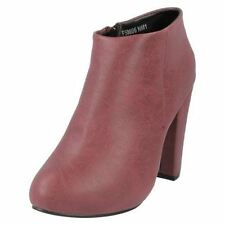 LADIES ANNE MICHELLE BURGUNDY ANKLE BOOTS STYLE: F50006