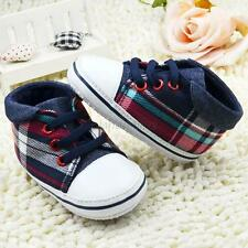 Baby Infant Boys Toddler Plaid Sneakers Soft Sole Crib Shoes Prewalker Shoes New