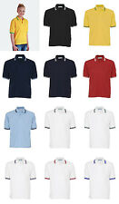 Blue Max Unisex Tipped Penthouse Polo Shirts Casual Contrast Stripe T-Shirt Snr