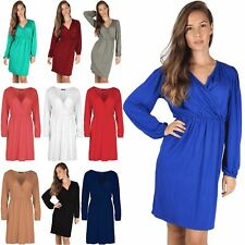 Womens Ladies Cross Over Ruched Flared Swing Front Wrap Midi Skater Dress Top