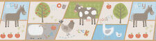 "Kids World On The Farm Patchwork Farm 33' x 20.5"" Wildlife Border Wallpaper"