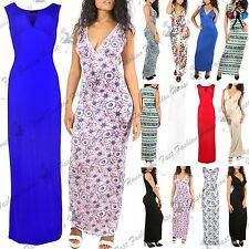 Womens Ladies Printed V Neck Long Ruched Vest Sleeveless Plunge Maxi Top Dress