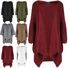 Womens Ladies Baggy Open Cape Cardigan Knit Batwing Waterfall Poncho Sweater