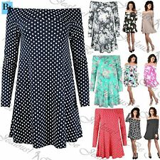 Women Polka Dot Off The Shoulder Swing Dress Ladies 50's Style Bardot Floral Top