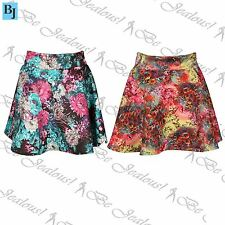 Womens Skater Mini Skirt Ladies Stretchy High Waisted Swing Floral Print Flared