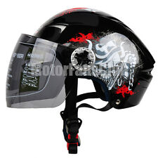 Motorcycle Scooter Open Face Half Summer Helmet Full Face Visor Shield M L XL