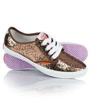 New Womens Superdry Casual Daps Red Gold Sparkle Canvas
