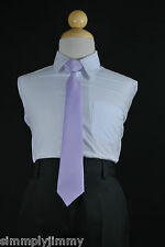 Boys Satin Clip on Long Neck Tie Lilac matching Boy suit 8 10 12 14 (11 Colors)