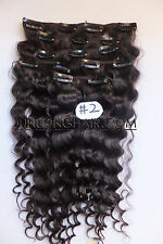 120g 150g 170g Curly Wavy Clip in Real Human Hair Extension,Dark Brown,Full Head