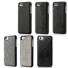Frame Luxury Leather Chrome Hard Back Case Cover For iPhone 5 5S SE Black