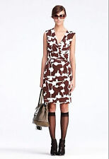 SZ 4,6,8 DIANE VON FURSTENBERG DEEP BROWN FOREST WEAVE CALLISTA WRAP DRESS NWT