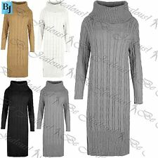 Womens Ladies Cowl Neck Cable Midi Knitted Jumper Full Sleeve Sweater Dress