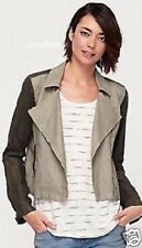 EILEEN FISHER 3X  Jacket Two Tone Stone Asym Zip  Linen  Moto Short $278 NWT