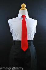 Boys Satin Clip on Long Neck Tie RED matching Boy suit 8 10 12 14 (11 Colors)