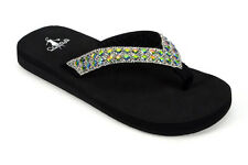 Corkys Women's Black Flip Flops with Clear and Rainbow Rhinestones