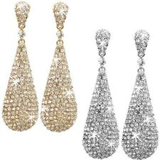 "4"" LONG Silver OR Gold HUGE Pave Crystal Cz Chandelier Dangle Hip Hop Earrings"
