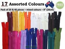 "Nylon Assorted Colour Pack of 20 & 40 Zippers, Zip 8"", Close End, Apparel, No.3"