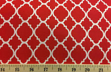 Red White Moroccan Quatrefoil Cotton Fabric By the Yard or Half Yard w5/32