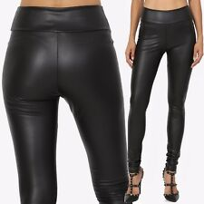 TheMogan High Waisted Faux Leather Leggings Pull On Wet Look Treggings