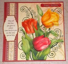 Handmade Greeting Card 3D All Occasion With Tulips With Sentiment