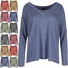 Womens Oversized Jumper Ladies Fine Knit Lagenlook Layering Baggy Top Plus Size