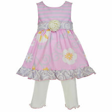 AnnLoren Girls Boutique Pink and Grey Floral Dress Outfit