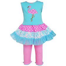 AnnLoren Girls' Boutique Pink Flamingo Dress and Legging Outfit