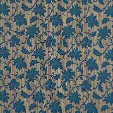 A0040E Navy Green Red Embroidered Floral Stripe Upholstery Fabric