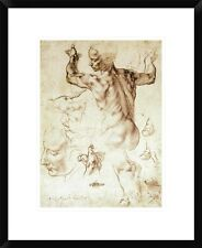 Anatomy Sketches (Libyan Sibyl) by Michelangelo Framed Painting Print