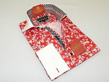 Mens AXXESS Turkey Wrinkle Free Egyptian Cotton Shirt High Collar  216-16 Red