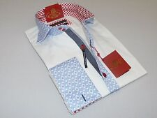 Mens AXXESS Wrinkle Free Cotton Shirt High Spread Collar 216-30 White Blue cuffs